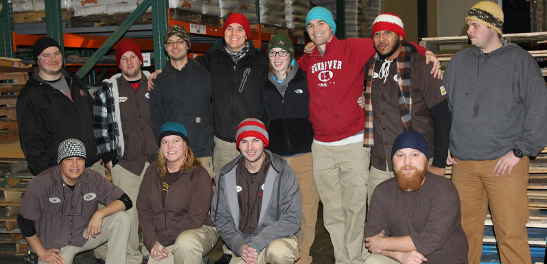 Employee's Wife Knits Hats for GloryBee Warehouse Team