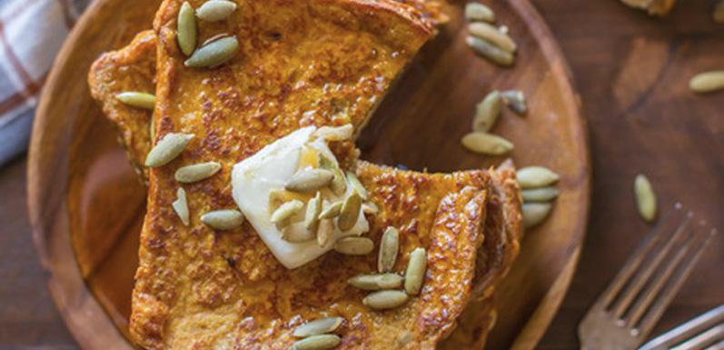 Pumpkin Pie Spice Stuffed French Toast