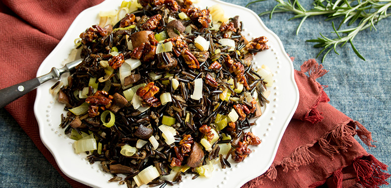 Wild Rice Dressing with Candied Pecans