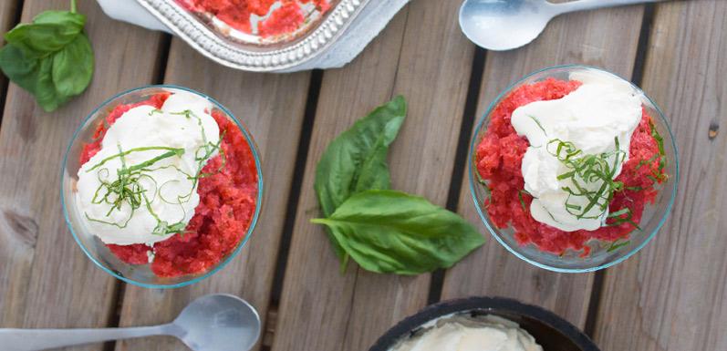 Basil Watermelon Granita with Agave