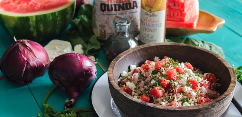 Watermelon Quinoa Salad with Fermented Honey
