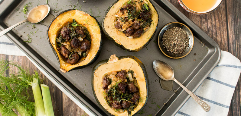 Baked Acorn Squash with Sausage